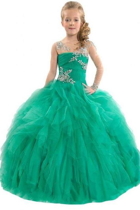 Beaded Girls Pageant Ball Gowns Long Dance Prom Party Dress Flower Girl Dresses