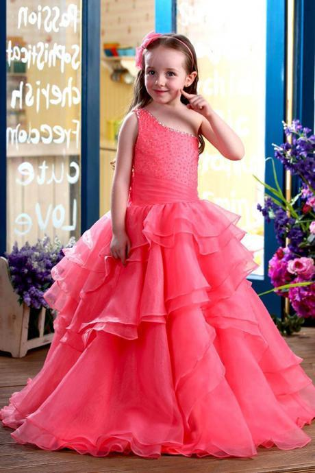 A-Line Floor-Length One-Shoulder Ruffles Flower Girl Dresses Girls First Communion Dress Party Pageant Dress for Girl
