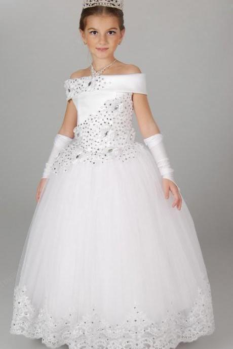 Appliques Beading Ball Gown Robe Communion Fille Long Flower Girl Dresses Kids Party Prom Princess Dresses